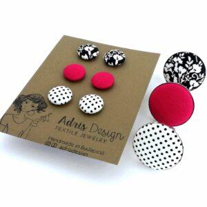 Fekete-fehér virágmintás, élénk pink és pöttyös ékszerszett 1 db választható gyűrűvel