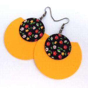 Színes apró virágos  és sárga Félhold Extra textilfülbevaló