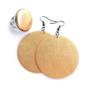 Őszi világos arany Maxi textilfülbevaló hozzáillő gyűrűvel ékszerszett