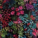 Vibráló színes festői, fekete, arany MINI textilfülbevaló csomag 3 pár + gyűrű ékszerszett