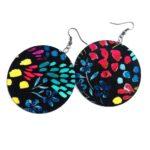 Festői színes MAXI textilfülbevaló