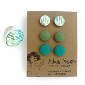 Akvarell ecsetvonások, türkizkék, zöld MINI textilfülbevaló csomag 3 pár + gyűrű ékszerszett